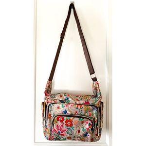 LeSportsac bag tan floral rainbow zipper NWOT